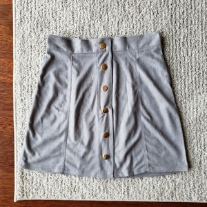 Snap Front Suede Skirt in Gray ♡ Fall Favorit